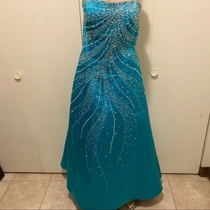 Tiffany Designs | Turquoise Strapless Prom Gown
